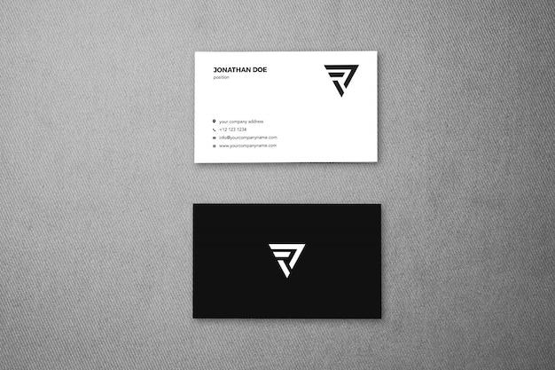 Linnen stof oppervlak verticale visitekaartje mockup Premium Psd
