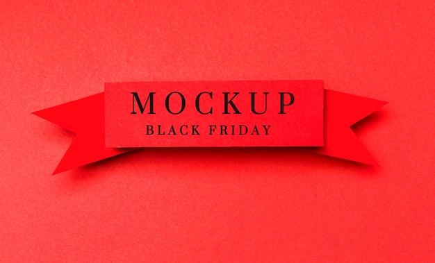 Lint op rode achtergrond zwarte vrijdag verkoop mock-up Gratis Psd