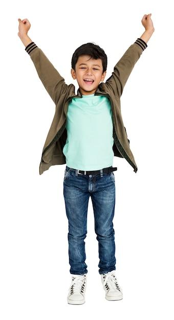 Little boy hands up concept Premium Psd
