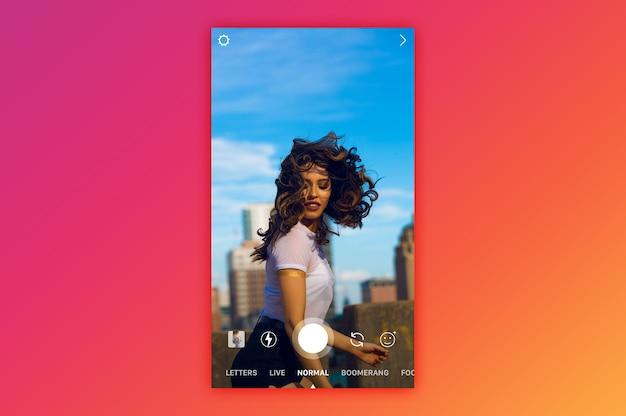 Live mockup voor instagram live camera Premium Psd