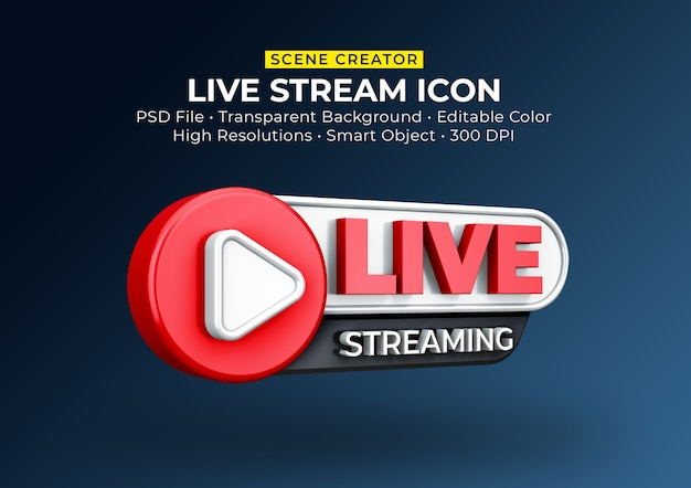 Live streaming 3d render pictogram badge geïsoleerd Premium Psd
