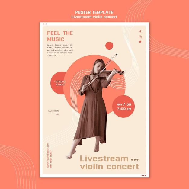 Livestream vioolconcert poster sjabloon Premium Psd