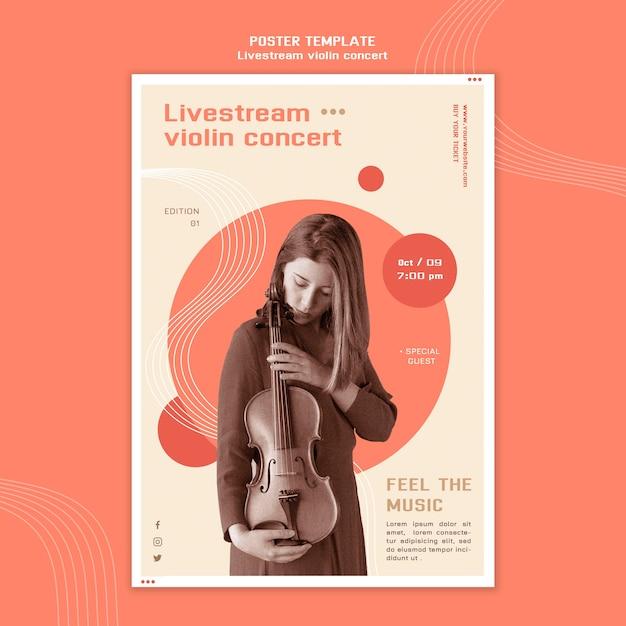 Livestream vioolconcert poster Gratis Psd