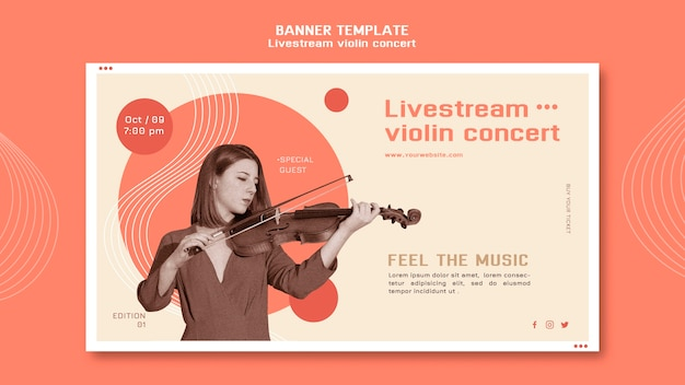 Livestream vioolconcert sjabloon voor spandoek Gratis Psd