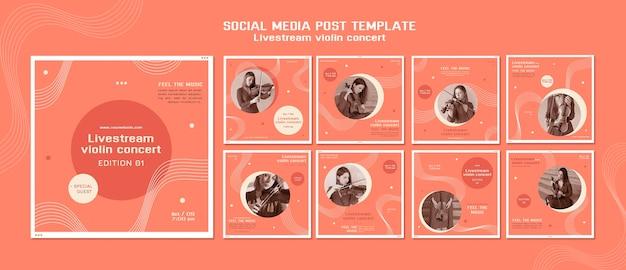 Livestream vioolconcert social media post Premium Psd