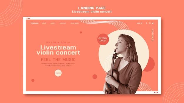 Livestream vioolconcert websjabloon Gratis Psd