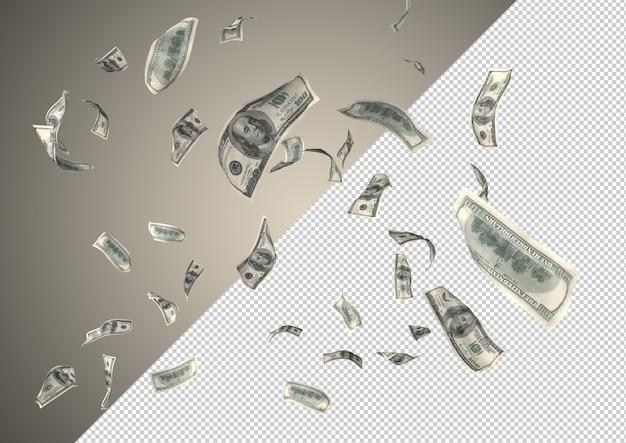 Lluvia de dinero de 100 dólares: cientos de 100 dólares cayendo desde la cima PSD Premium