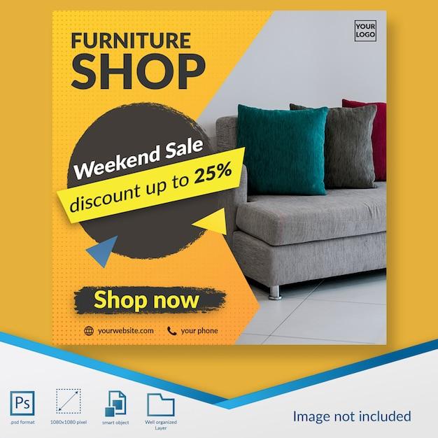 Lo sconto di vendita di fine settimana del negozio di mobili offre l'insegna del modello dell'alberino dei social media Psd Premium