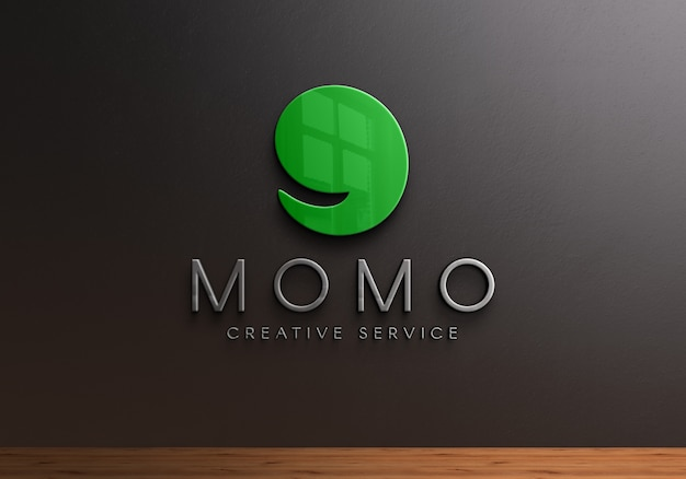 Logo 3d mockup sulla parete nera Psd Premium