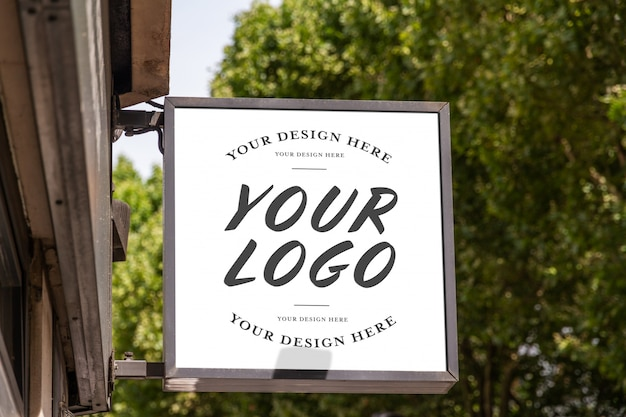 Logo del marchio del negozio segno mockup Psd Premium