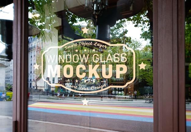 Logo del vetro della finestra mockup Psd Premium