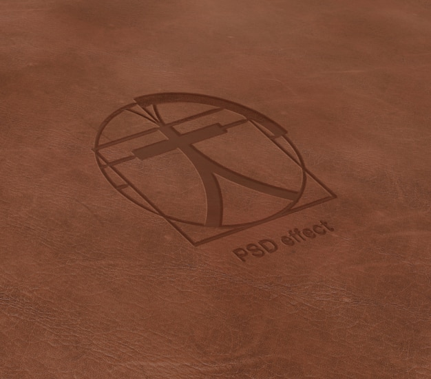 Logo-effect op lederen mockup Gratis Psd