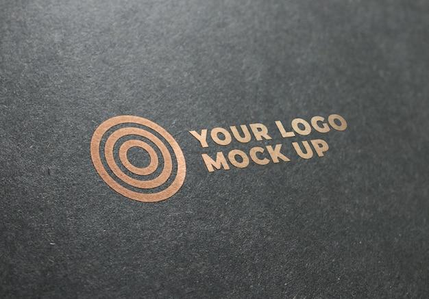 Logo golden texture mockup Psd Premium