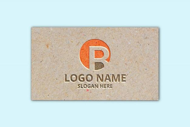 Logo in carta marrone mock-up Psd Premium