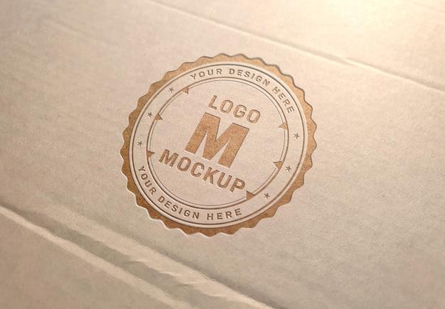 Logo inciso sulla trama del cartone mockup Psd Premium