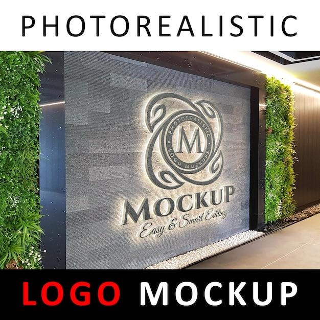 Logo mock-up - 3d concrete signage-logo op kantoormuur of hal Premium Psd