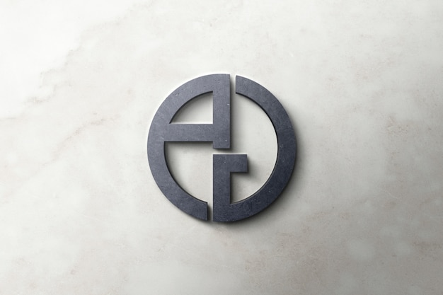 Logo mockup 3d-beton Premium Psd