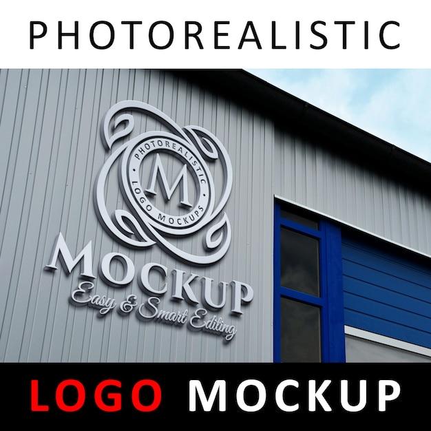 Logo mockup - 3d metallic aluminium logo signage op factory facade wall Premium Psd