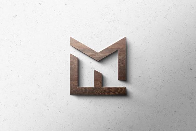 Logo mockup 3d wood Psd Premium