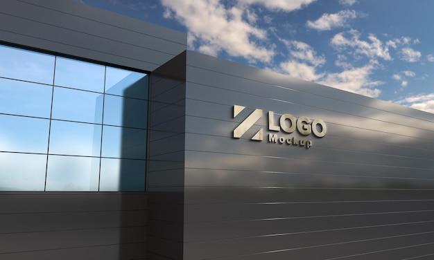 Logo mockup design gebouw zijaanzicht 3d-rendering Premium Psd