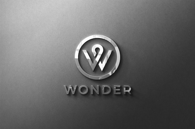 Logo mockup front 3d wall PSD Premium