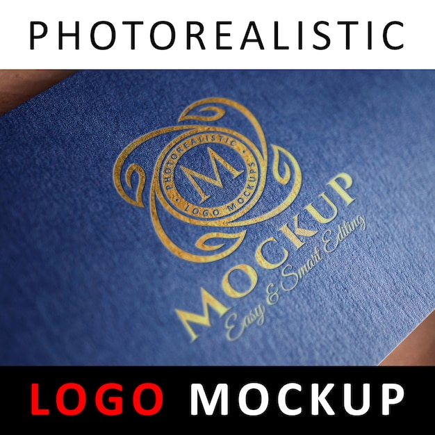 Logo mockup - inscriptie goudfolie stempelen logo op blauwe getextureerde kaart Premium Psd