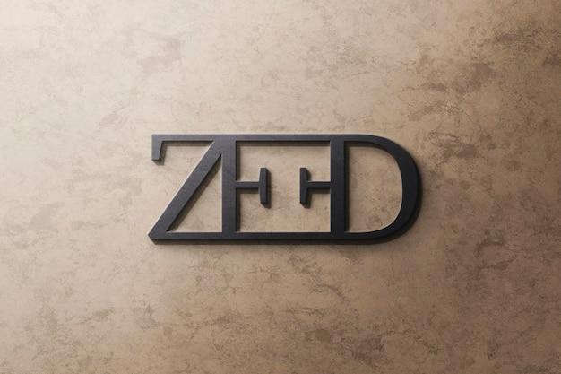 Logo mockup luxe zwart op geel graniet Gratis Psd
