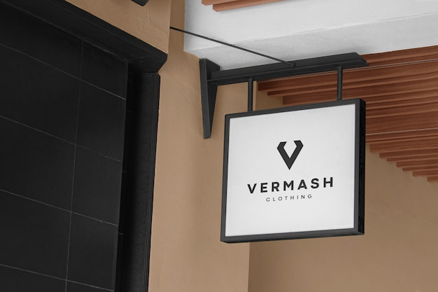 Logo mockup modern wit hangbord Gratis Psd