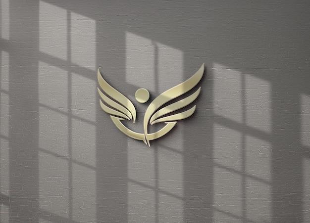 Logo mockup ontwerp geïsoleerd in de muur Premium Psd
