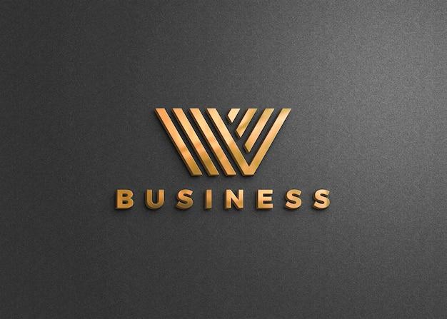 Logo mockup op donkergrijze muur Premium Psd