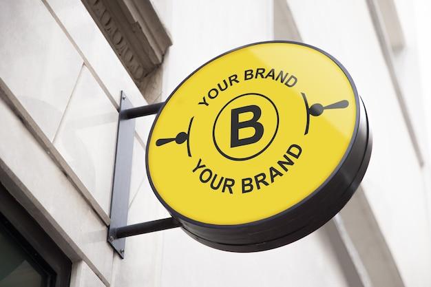 Logo mockup op gevel of storefront Gratis Psd