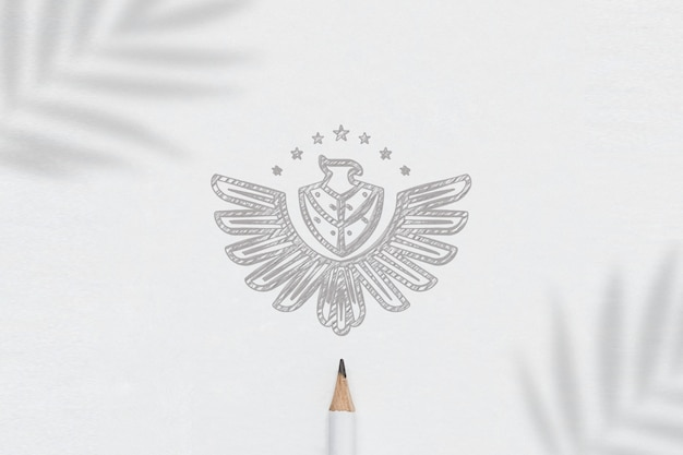 Logo mockup paper skecth minimalistisch Premium Psd