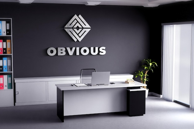 Logo mockup realistisch teken kantoorruimte zwarte muur Premium Psd