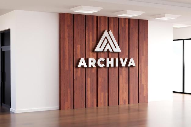 Logo mockup realistisch teken office houten muur Premium Psd