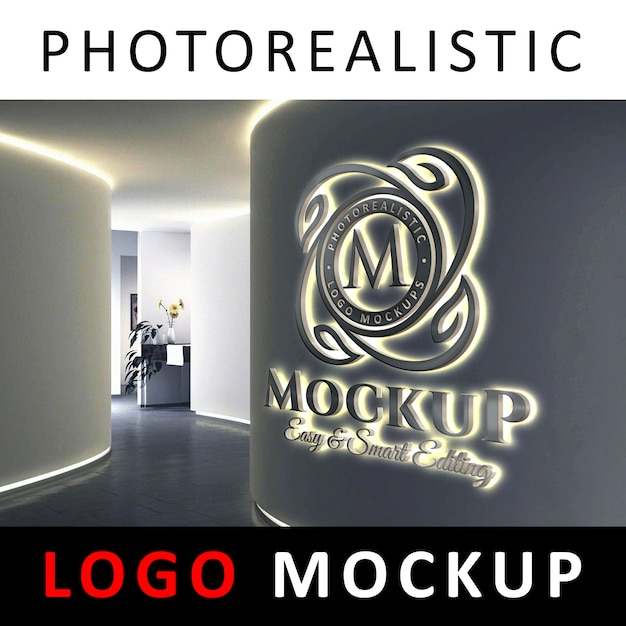 Logo mockup - segnaletica logo 3d retroilluminato a led su un muro aziendale Psd Premium