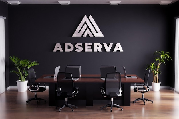 Logo mockup sign meeting room black wall Premium Psd