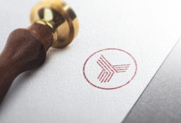 Logo mockup stamp Psd Premium