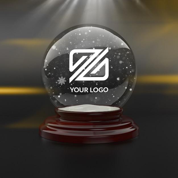 Logo mockup whit kerstmissneeuwbal Premium Psd