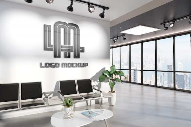 Logo op kantoor wachtkamer muur mockup Premium Psd