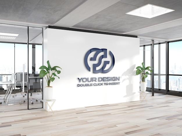 Logo op kantoormuur mockup Premium Psd