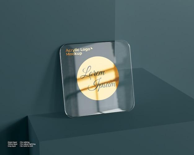 Logo quadrato in vetro acrilico mockup Psd Premium