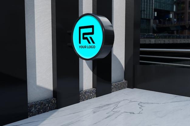 Logo restaurant bewegwijzering mockup Premium Psd
