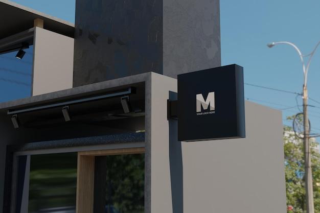 Logo teken mockup rechthoek bewegwijzering vak op gevel van kantoorgebouw Premium Psd