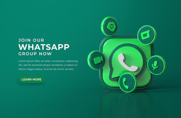 Logotipo 3d de whatsapp con iconos de chat PSD gratuito