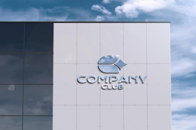 Logotipo en edificio grande moderno - maqueta de letrero PSD gratuito