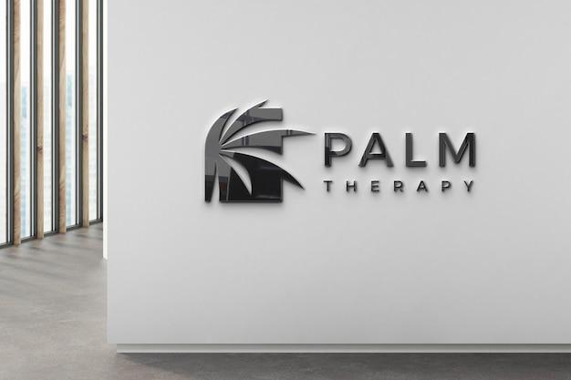Logotipo de la empresa negro en la pared PSD gratuito