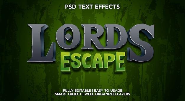 Lord escape-teksteffectsjabloon Premium Psd