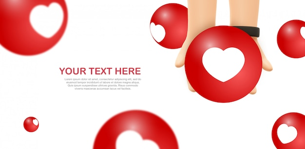 Love emoji mockup - handen houden gele facebook emoticon Premium Psd