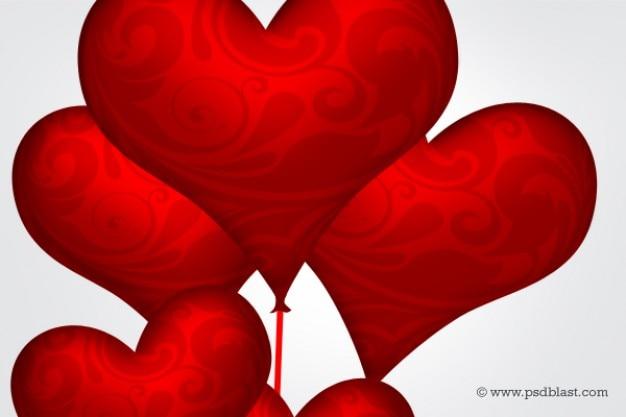 Lucido palloncini cuore rosso psd Psd Gratuite
