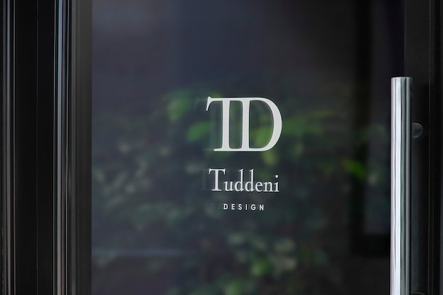 Luxe deur raam teken logo mockup Gratis Psd
